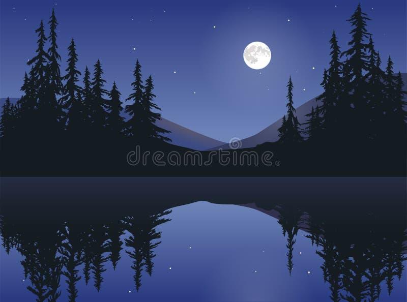 Lune au-dessus de lac calme illustration stock