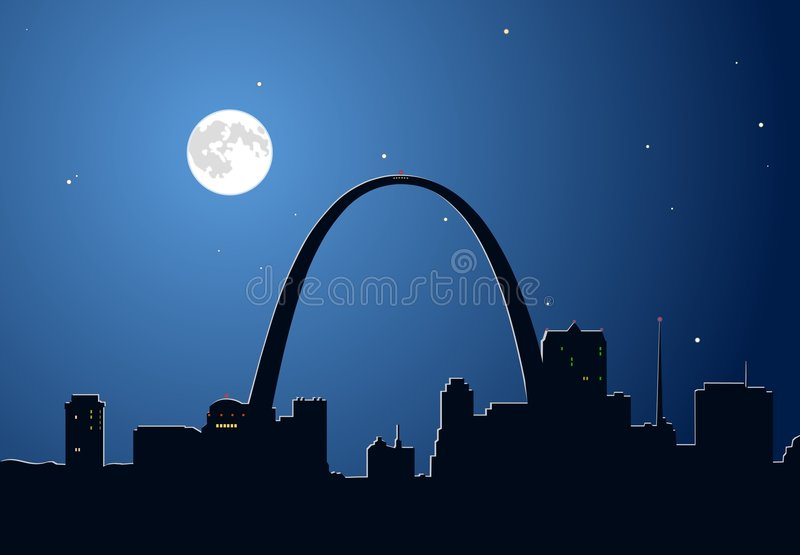Lune au-dessus de St Louis, Missouri illustration libre de droits