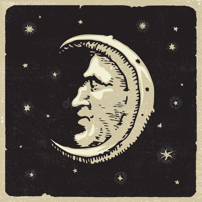 Lune avec le profil de l'homme illustration libre de droits