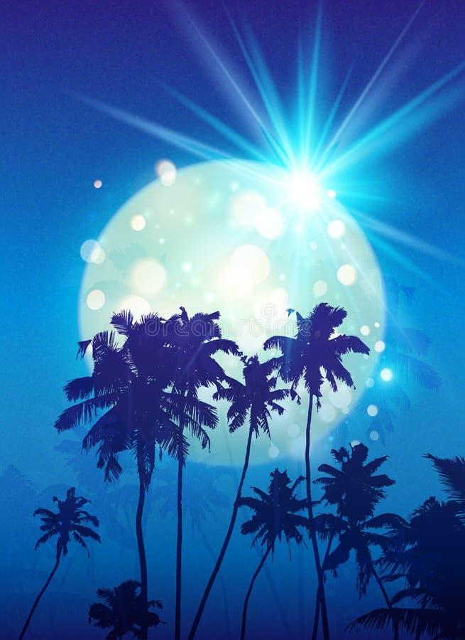 Lune brillante de turquoise avec les silhouettes noires de palmiers sur le fond bleu illustration stock