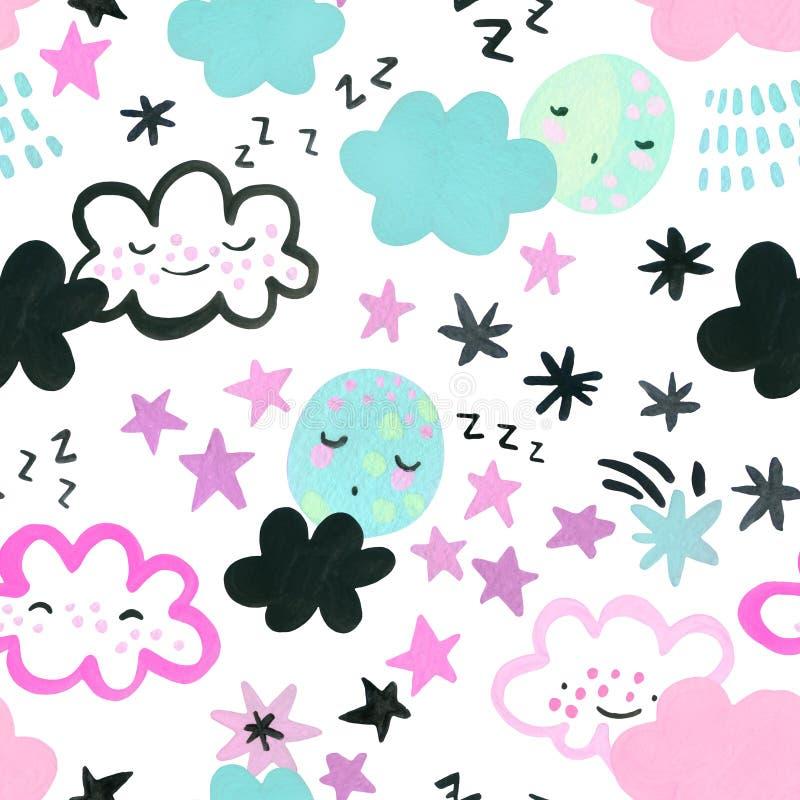 Lune che dormono divertenti, nuvole, sfondo delle stelle Disegno di arte della nursery illustrazione vettoriale