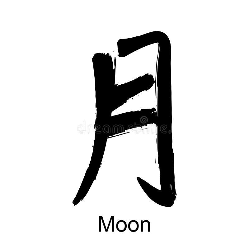 Lune d'hiéroglyphe de kanji illustration libre de droits