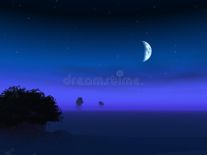 lune d'horizon de crépuscule illustration stock