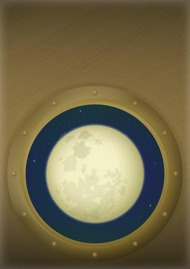 Lune dans la fenêtre de l'espace illustration libre de droits