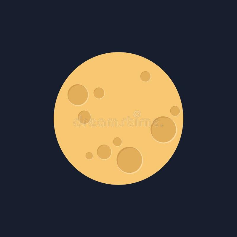 Lune dans le style plat de dasign Astronomie d'espace de nuit et icône de lune de nature Vecteur gibbbeux sur le fond foncé Icône illustration stock