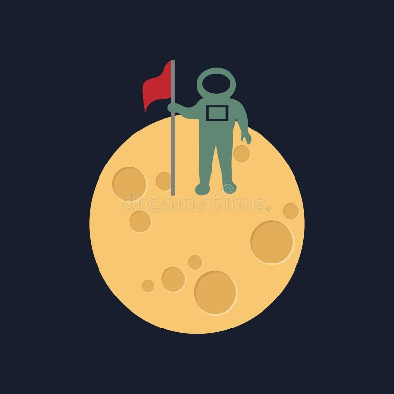 Lune dans le style plat de dasign Astronomie d'espace de nuit et icône de lune de nature Vecteur gibbbeux sur le fond foncé Icône illustration de vecteur