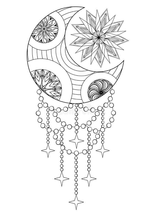 Lune de Bohème et Sun, lune tirée par la main de Zentangle et Sun pour l'ADU illustration stock