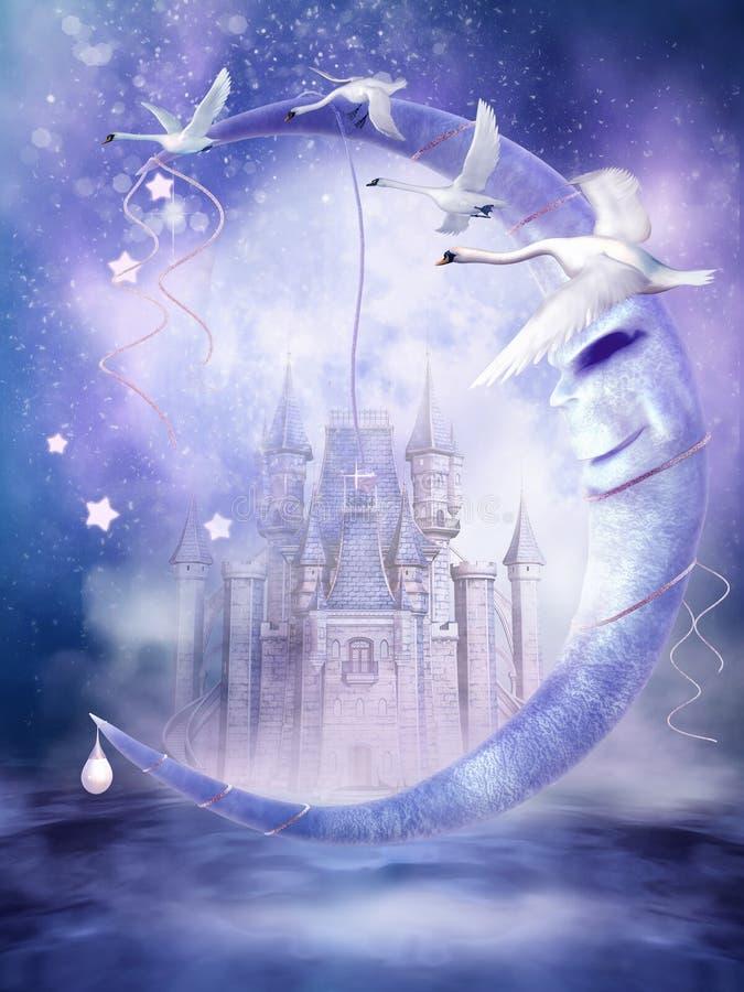 Lune de conte de fées avec des cygnes illustration libre de droits