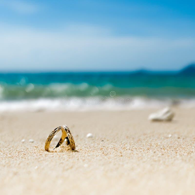 Lune de miel sur l'île tropicale, deux anneaux de mariage sur la plage photos libres de droits