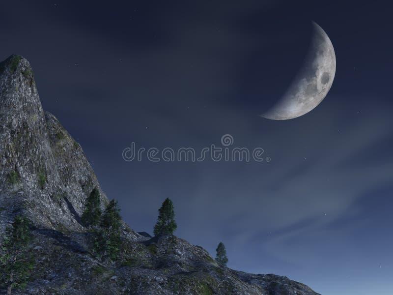 Lune de nuit - au-dessus de montagne illustration de vecteur