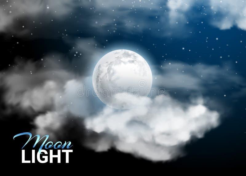 Lune de nuit de clair de lune pleine Nuages réalistes de ciel mystique et étoiles illustration stock