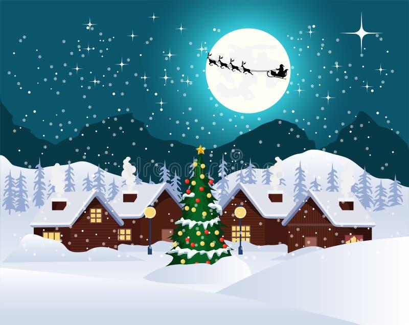 Lune de paysage de nuit de Noël pleine avec piloter le père noël, Noël illustration libre de droits