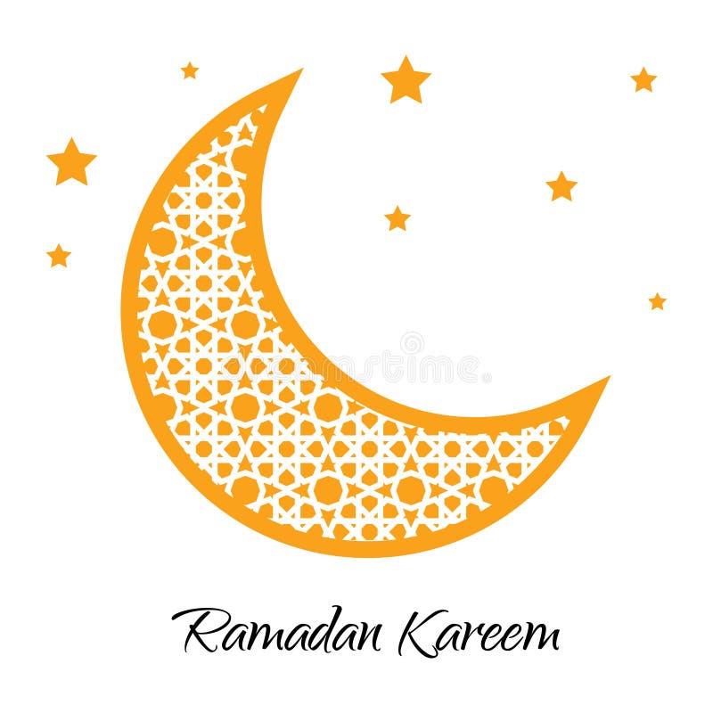 Lune de Ramadan Kareem avec la carte de voeux musulmane d'ornement Ramazan Illustration de vecteur illustration libre de droits