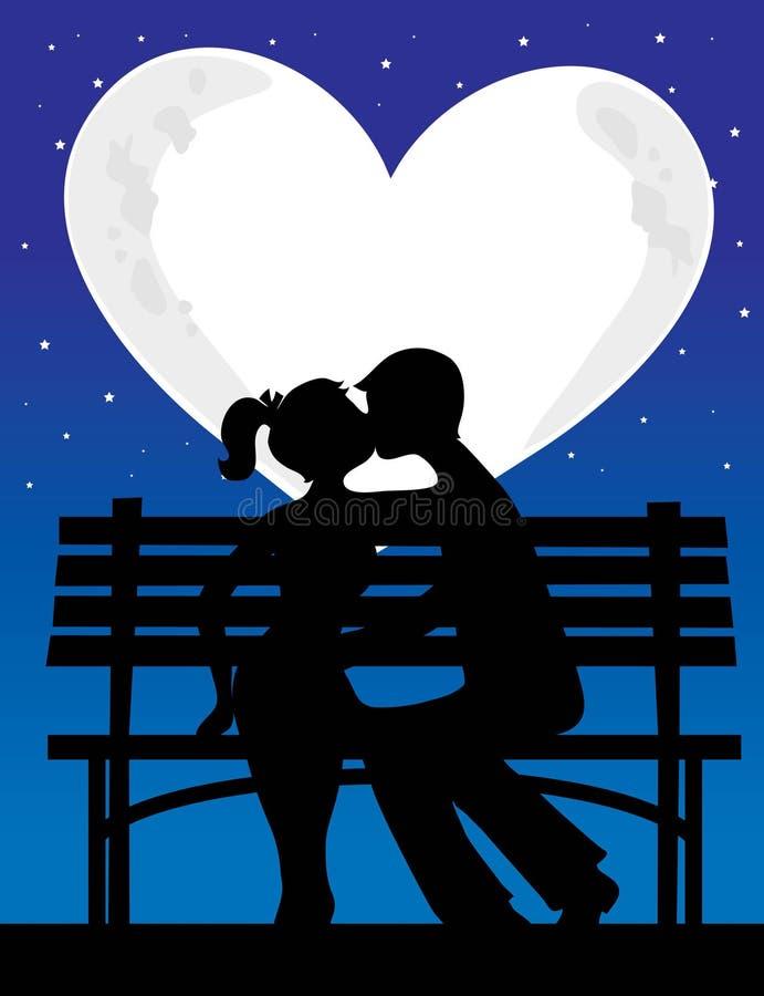 Lune de silhouette de couples