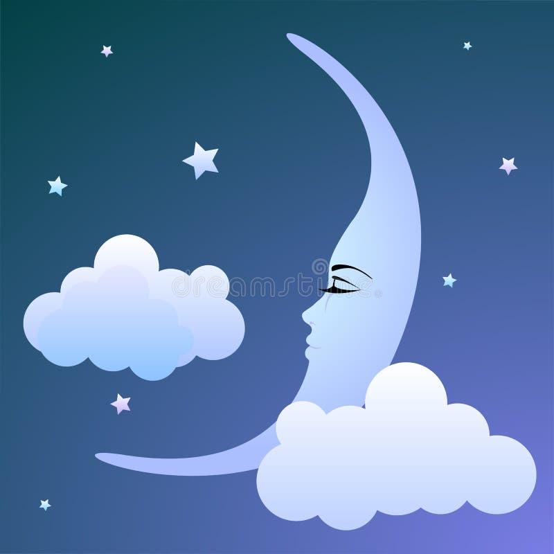 Lune de sommeil illustration libre de droits