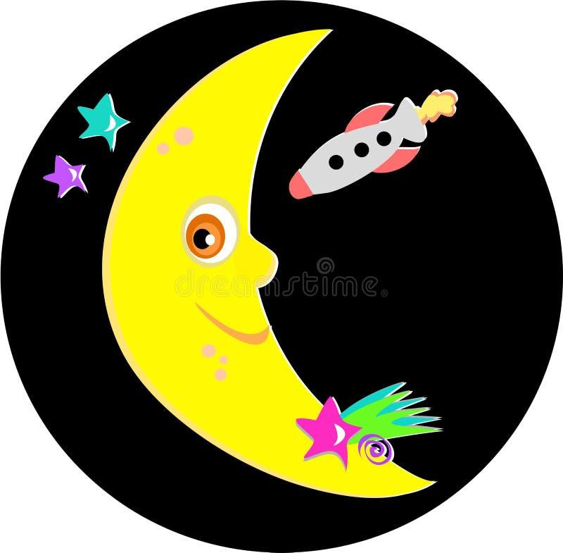 Lune de sourire avec Rocket et étoiles illustration libre de droits