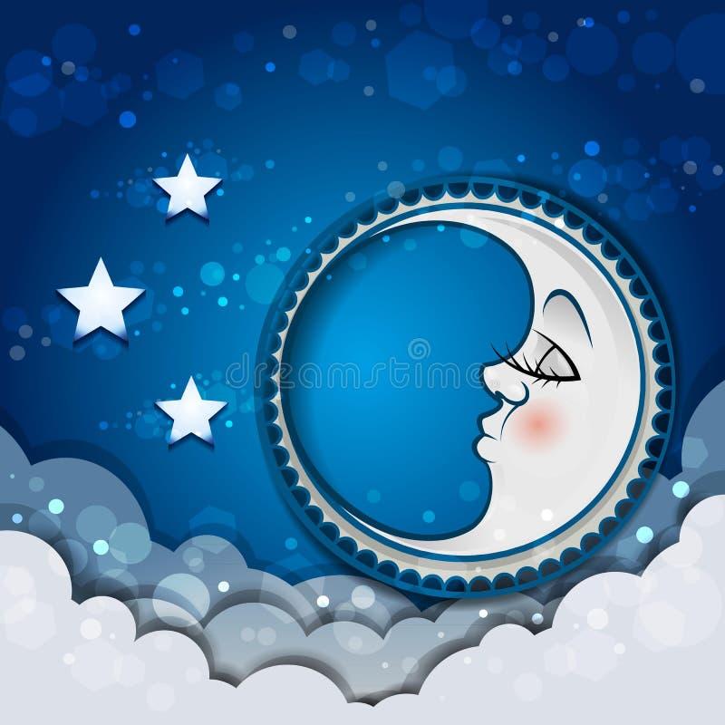 Lune dormant dans les nuages et les étoiles illustration libre de droits