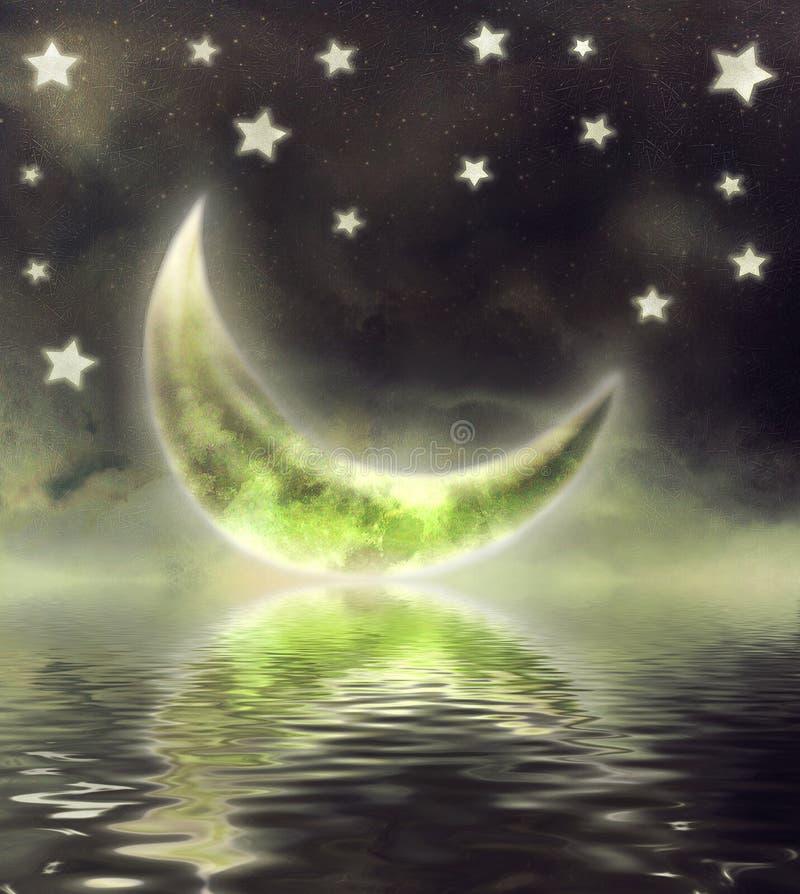 Lune en ciel illustration de vecteur