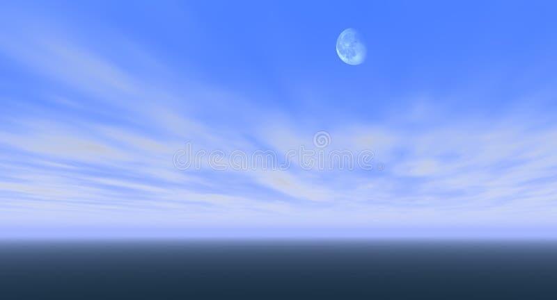 Lune en ciel bleu images stock