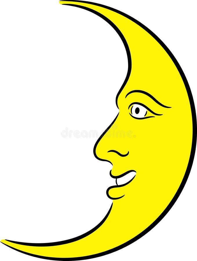 Lune en croissant illustration de vecteur