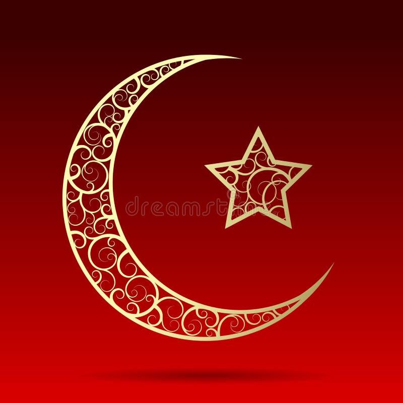 Lune en croissant d'or avec l'étoile sur le fond rouge foncé illustration libre de droits