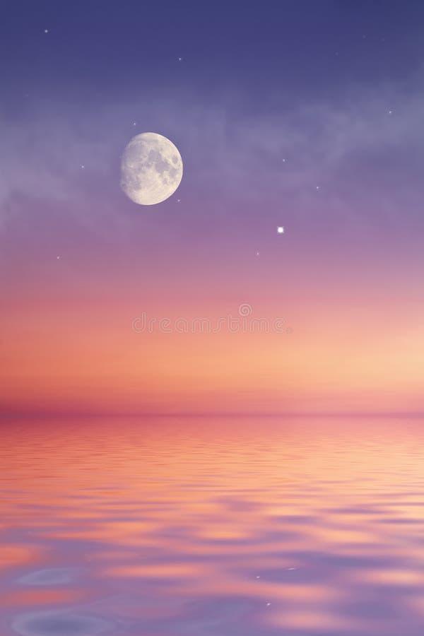 Lune en mer photo libre de droits