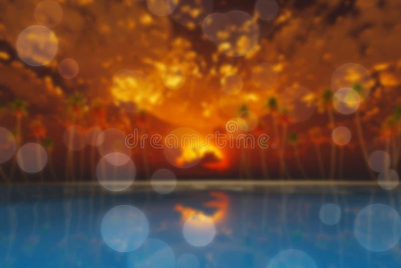 Lune en nuages au-dessus de tache floue rouge de coucher du soleil illustration libre de droits