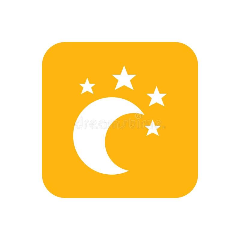 Lune et étoile, berceuse Bonne nuit Icône plate de couleur Articles de bébé pour des nouveaux-nés Illustration illustration stock