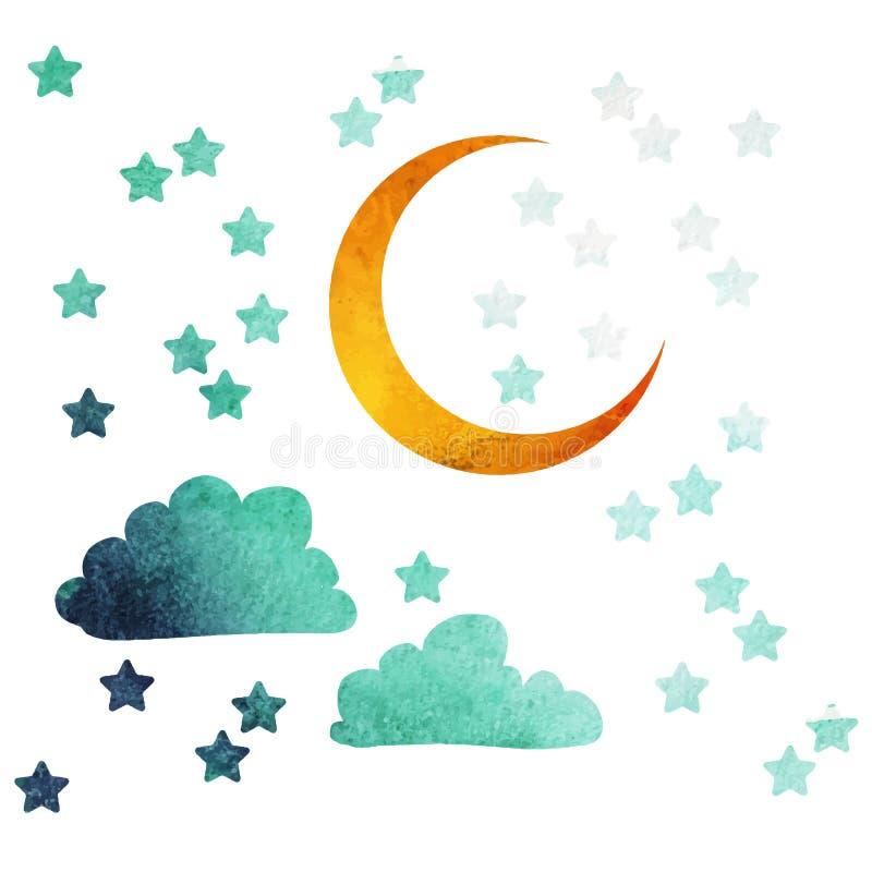 Lune et étoiles illustration stock