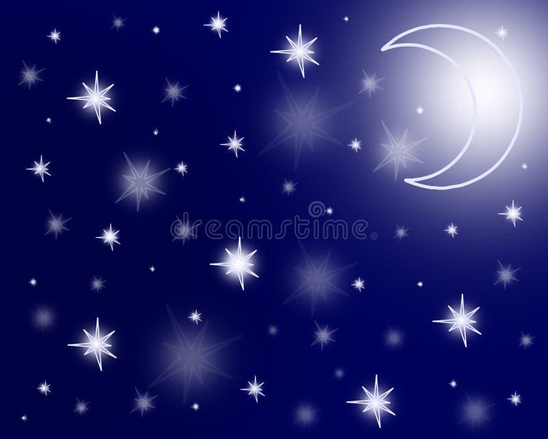 Lune et étoiles illustration de vecteur