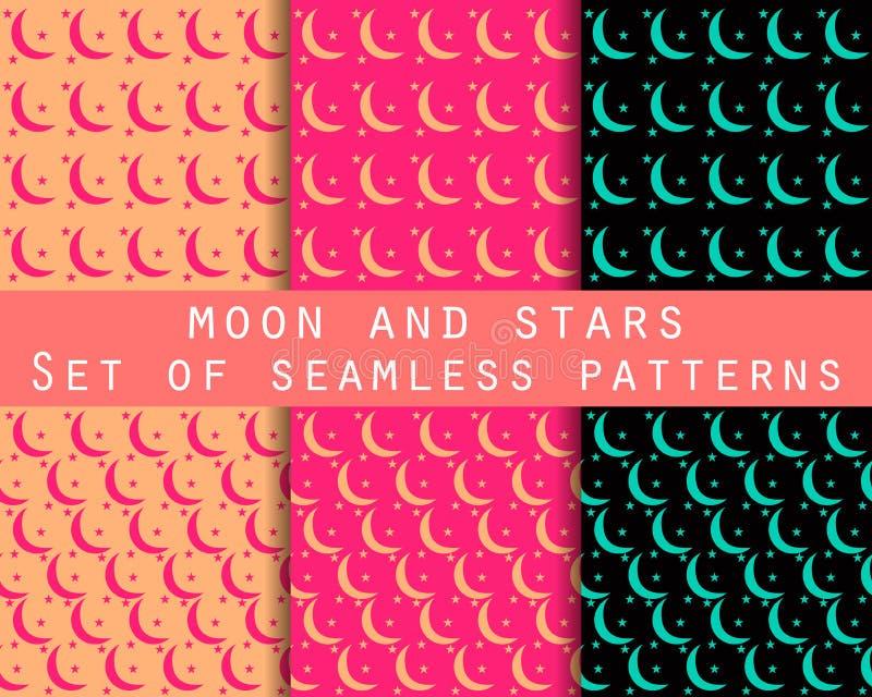 Lune et étoiles Modèles sans couture réglés le modèle pour le papier peint, linge de lit, tuiles, tissus, milieux illustration libre de droits