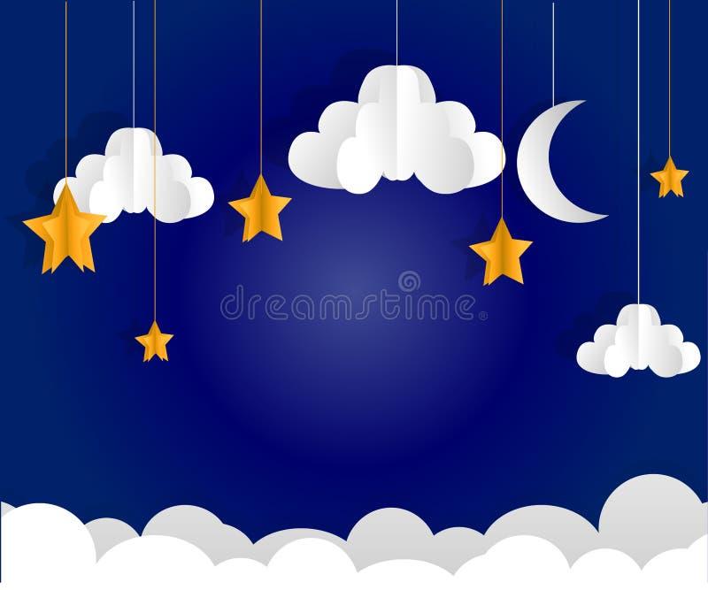 Lune et étoiles Papier-art de vecteur illustration stock