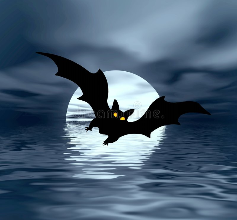 Lune et 'bat' illustration de vecteur