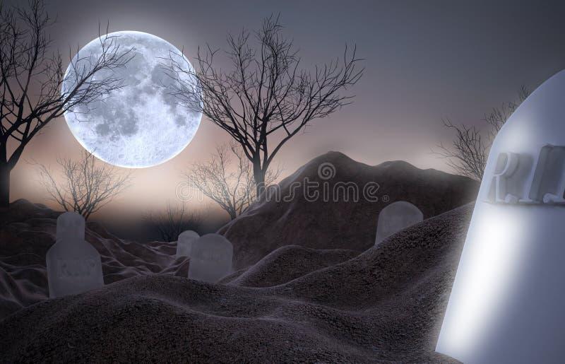 Lune et cimetière mort d'arbres pendant la nuit photographie stock libre de droits