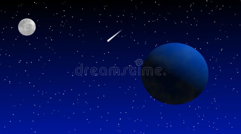 Lune et comète de la terre dans l'espace illustration stock