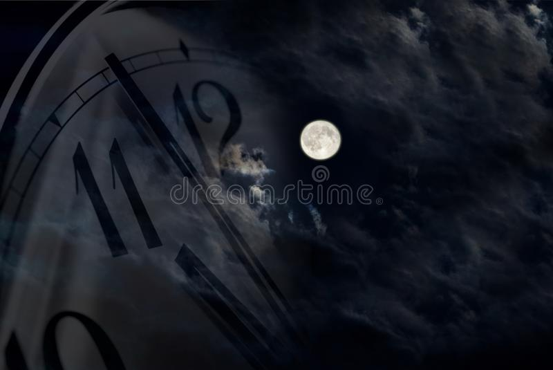 Lune et horloge illustration stock