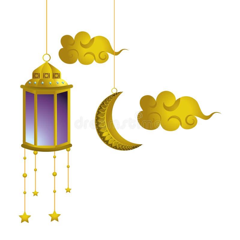 Lune et nuages accrochants de lampe illustration stock