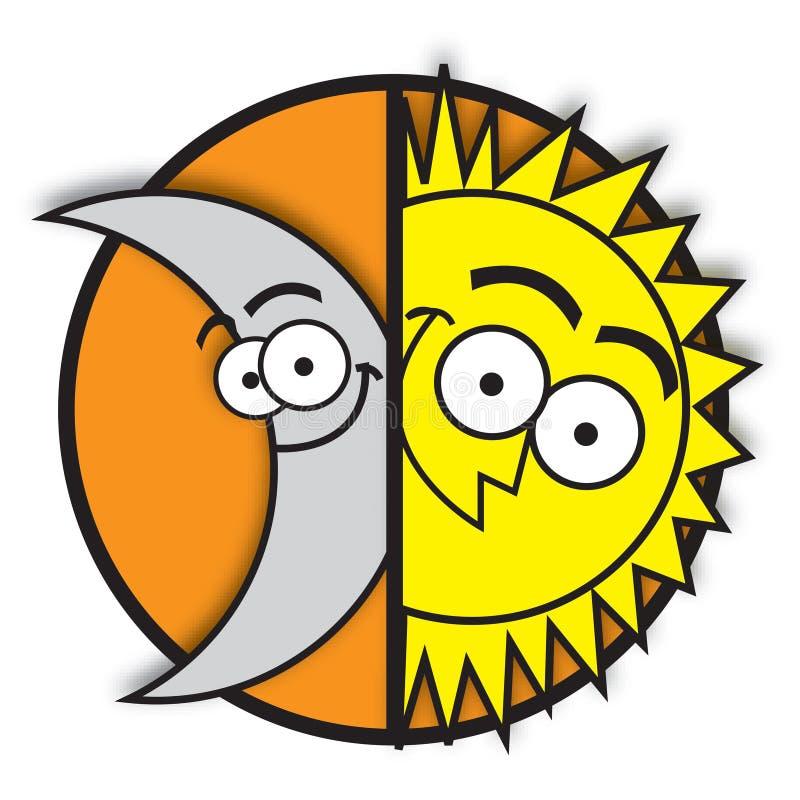 Lune et soleil illustration libre de droits