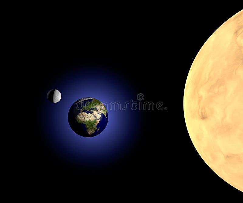 Lune et soleil de la terre dans l'espace illustration libre de droits