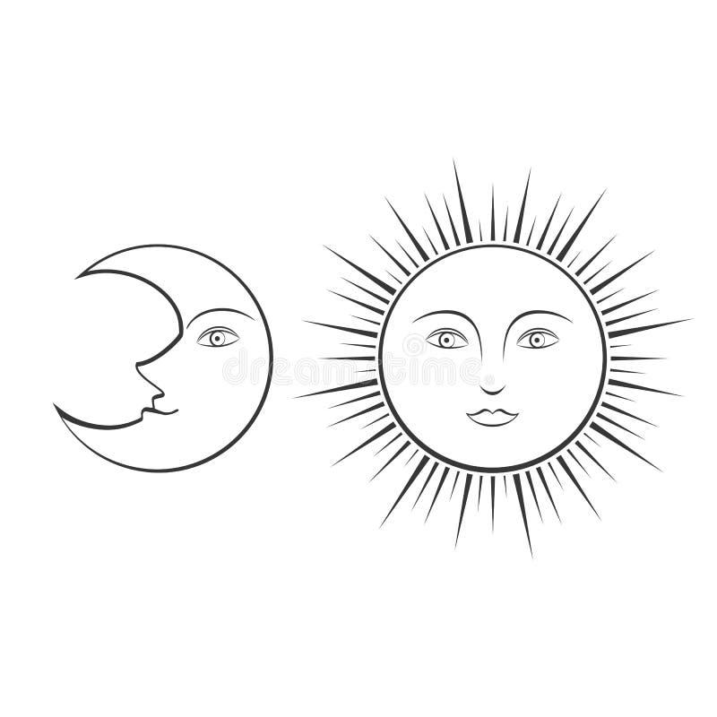 Lune et Sun avec des visages illustration de vecteur
