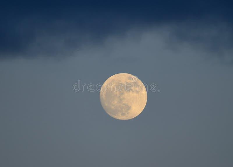 Lune jaune dans la perspective du ciel de soirée image stock