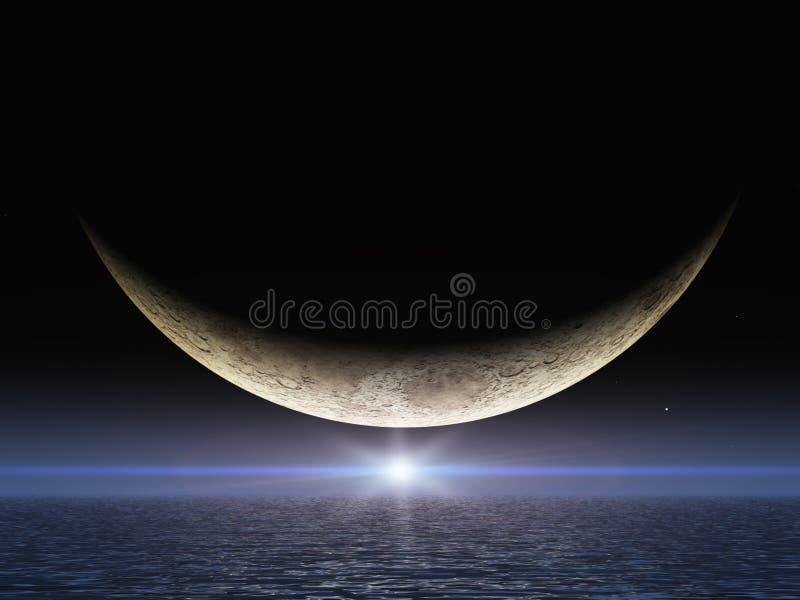 Lune lumineuse de sourire d'étoile illustration de vecteur