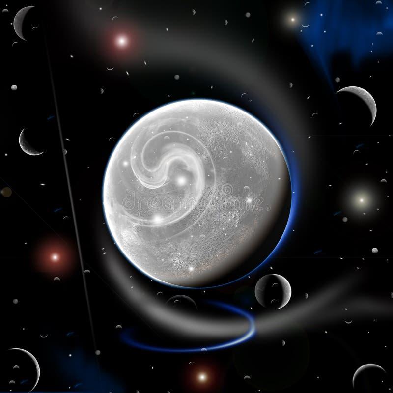 Lune neuve et plus de planète ...... illustration stock
