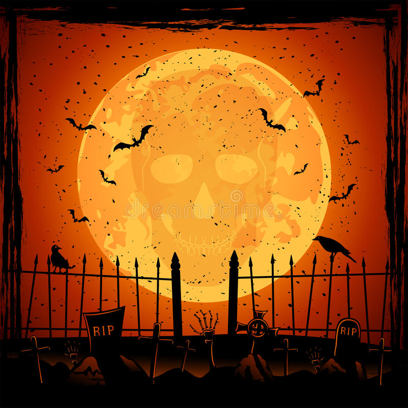 Lune orange avec le crâne illustration stock