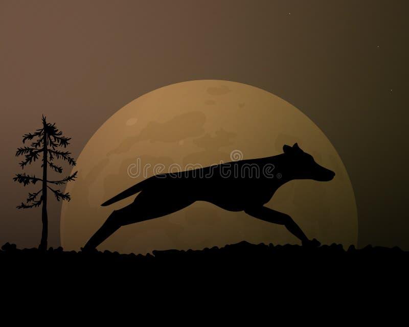 Lune pendant la nuit Loup noir de silhouette Ciel magique illustration stock