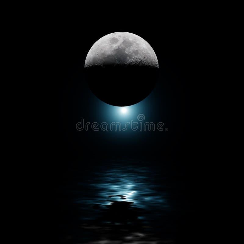 Lune rétro-éclairée et étoile bleue au-dessus de l'eau illustration libre de droits