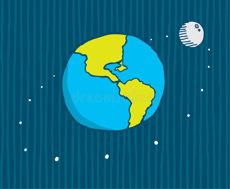 Lune satellisant la terre illustration libre de droits