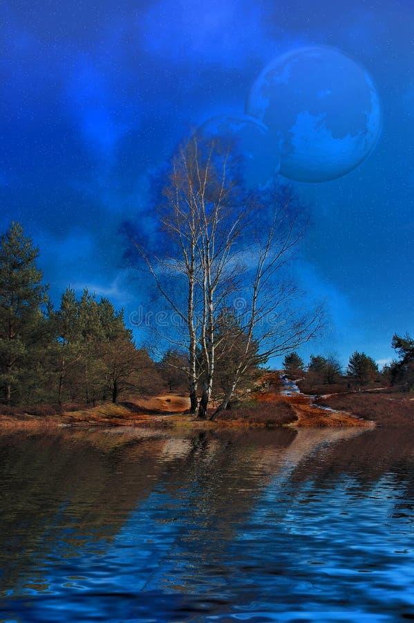 Lune sopra la palude. illustrazione di stock