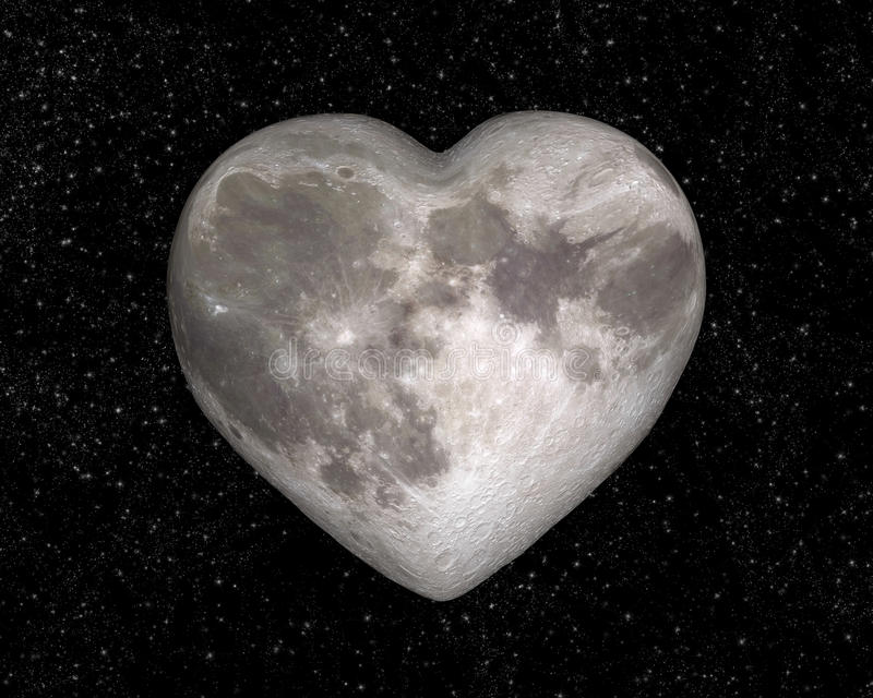 Lune sous forme de coeur photo libre de droits