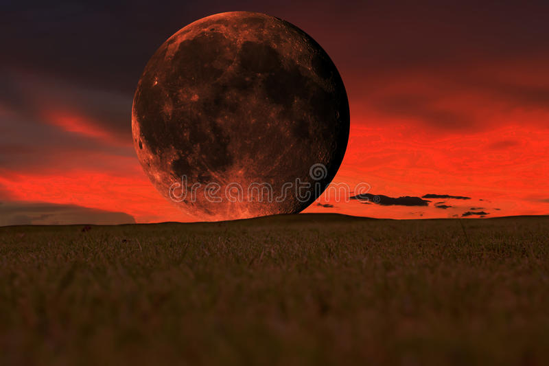 Lune superbe de sang images stock